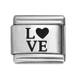 Love laser Italian charms