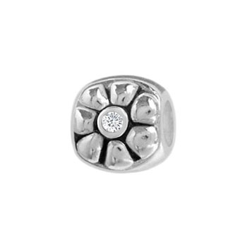 silver flower Italian bead jewelry