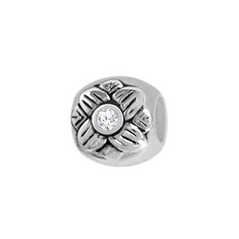 silver flower charm bead jewelry