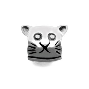 silver cat charm bead