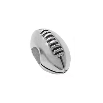 football silver charm beads