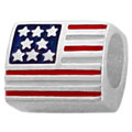 US flag sterling silver bead jewelry