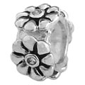 flowers on 925 sterling silver beads for Pandora jewelry