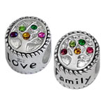 Family tree sterling silver beads for Italian jewelry