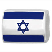 Israel flag silver bead for Pandora jewelry