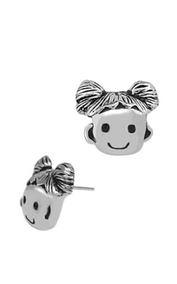 girl's face sterling silver earrings