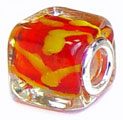 cube glass bead with 925 sterling silver caps for Murano jewellery and Pandora silver jewelry wholesale