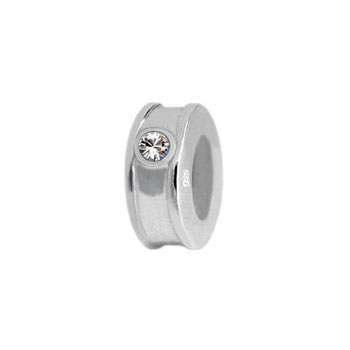 silver spacer with cz stones