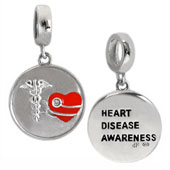heart disease awareness silver bead Pandora jewelry